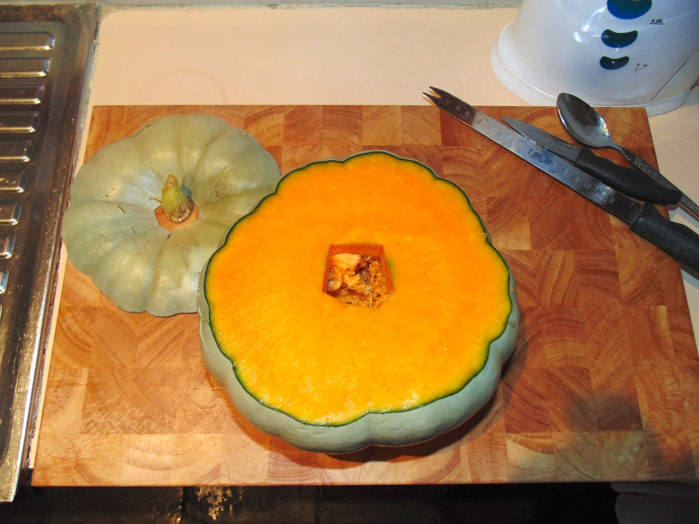 To carve a pumpkin: cut the top off