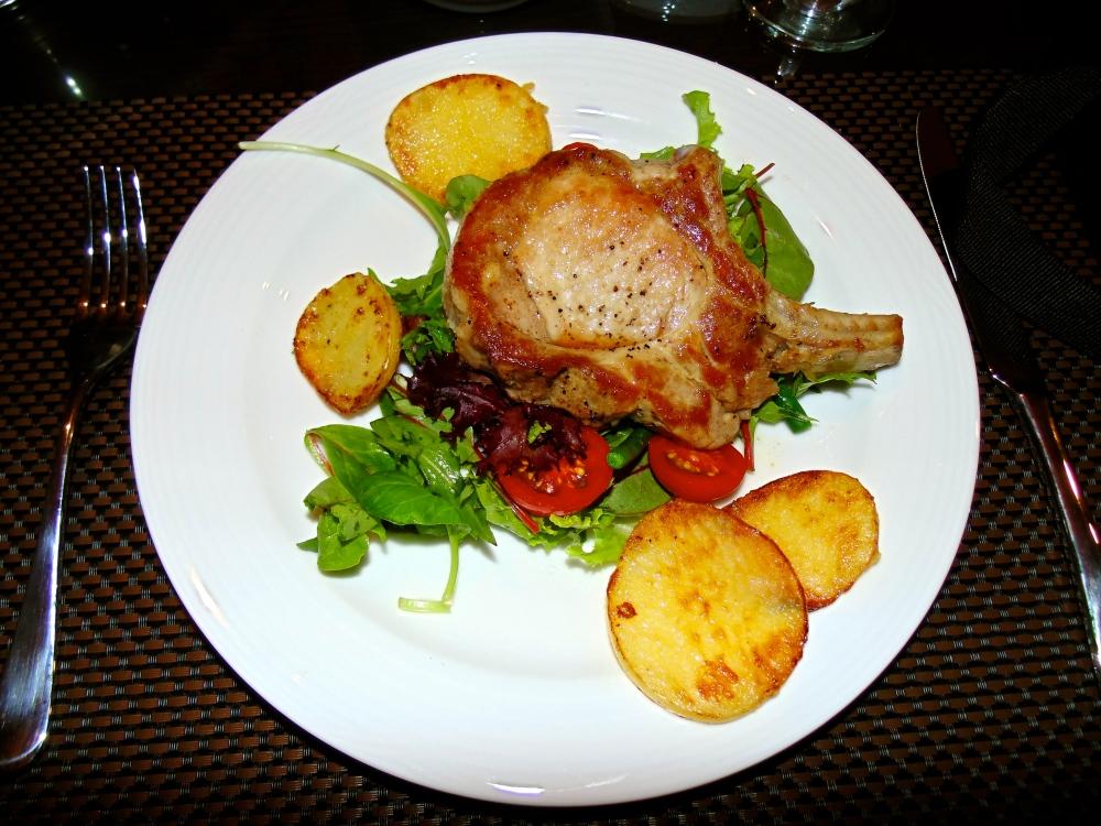 Pork Chops, Pan-Fried Potatoes and Salad