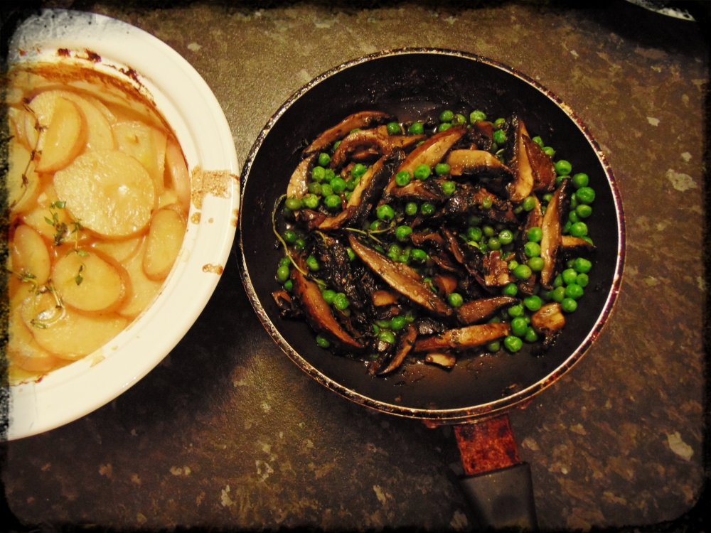 Portobello Mushrooms and Peas with Potato Gratin