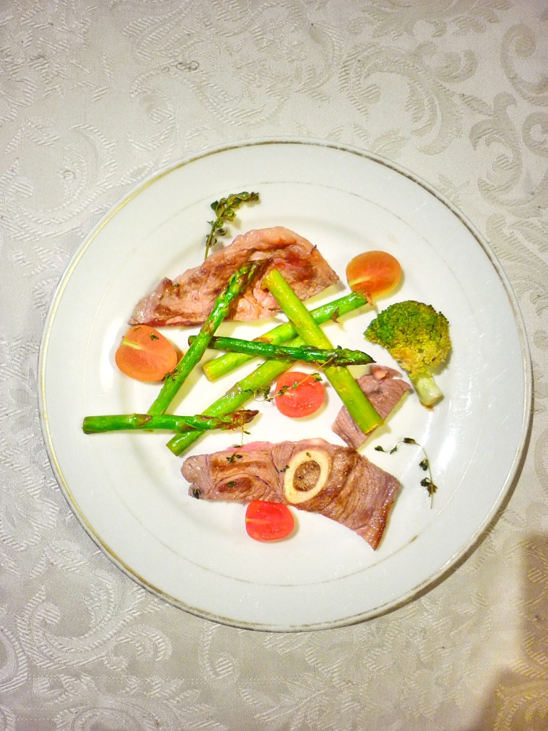 Lamb Chops, Asparagus, Broccoli and Grape Tomatoes