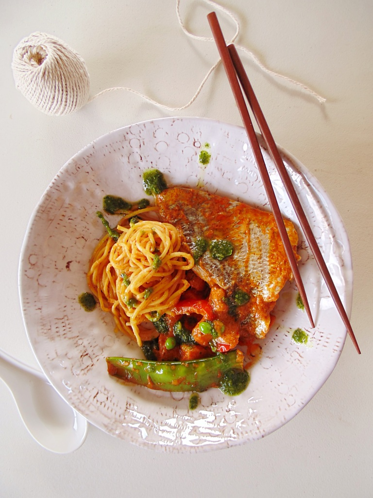 The Best Winter Seafood: Red Curry Bream with Sweet Potato, Capsicum, Snow Peas, Peas and Noodles_BrendonTheSmilingChef_2