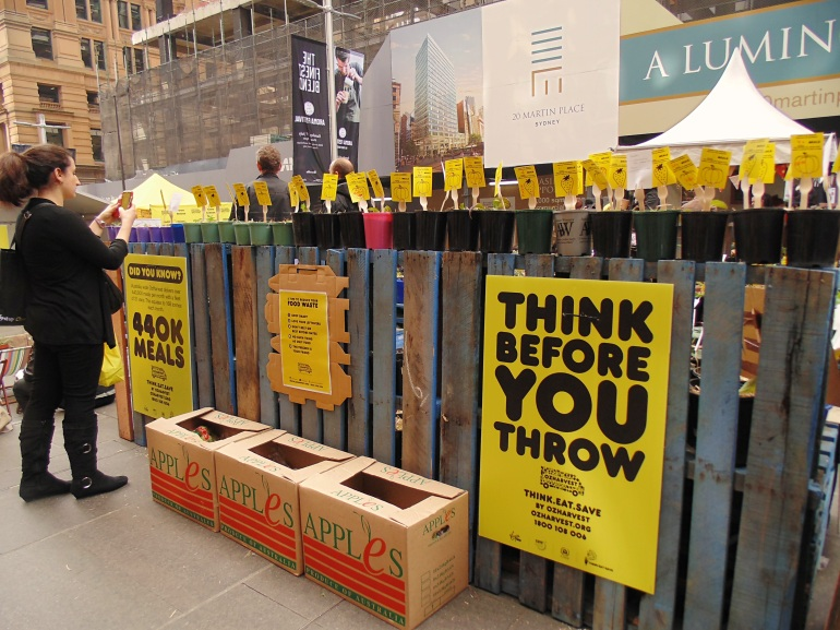 Diners were invited to donate to OzHarvest and place a pledge in their temporary garden.