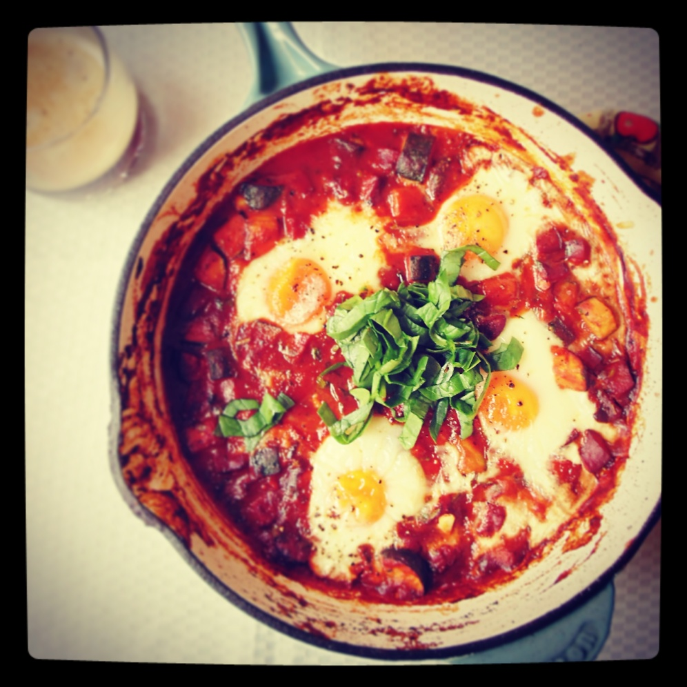 Baked eggs with Chickpea and Chorizo.