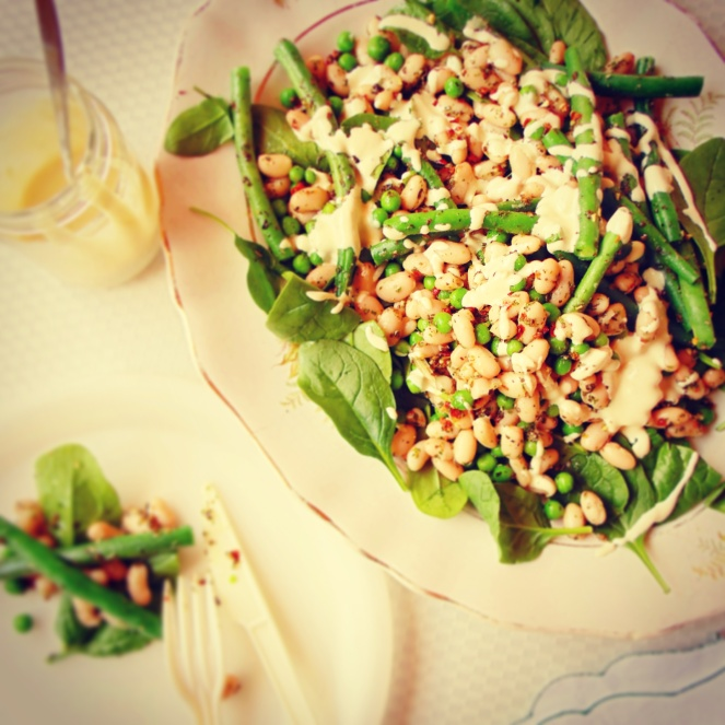 Looking for a delicious green salad to go with dinner tonight. Try this easy spring bean and greens salad