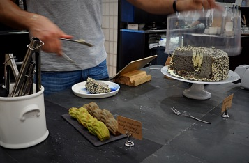 Matcha and Black Sesame Madeleines; Black Sesame Chiffon Cake.